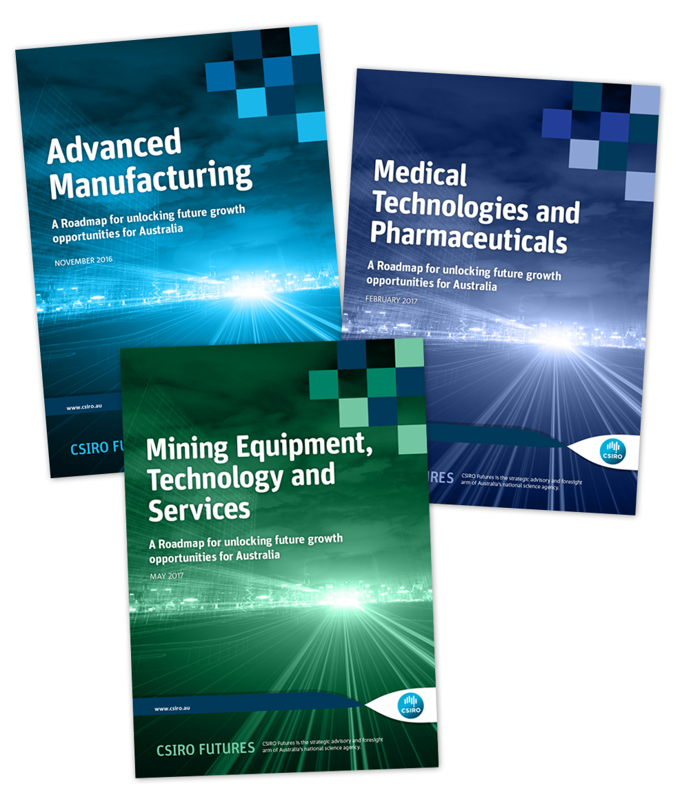 Front cover of each of the Industry Roadmap reports, including the Advanced Manufacturing, Medical Technologies and Pharmaceuticals and Mining Equipment, Technology and Services reports.