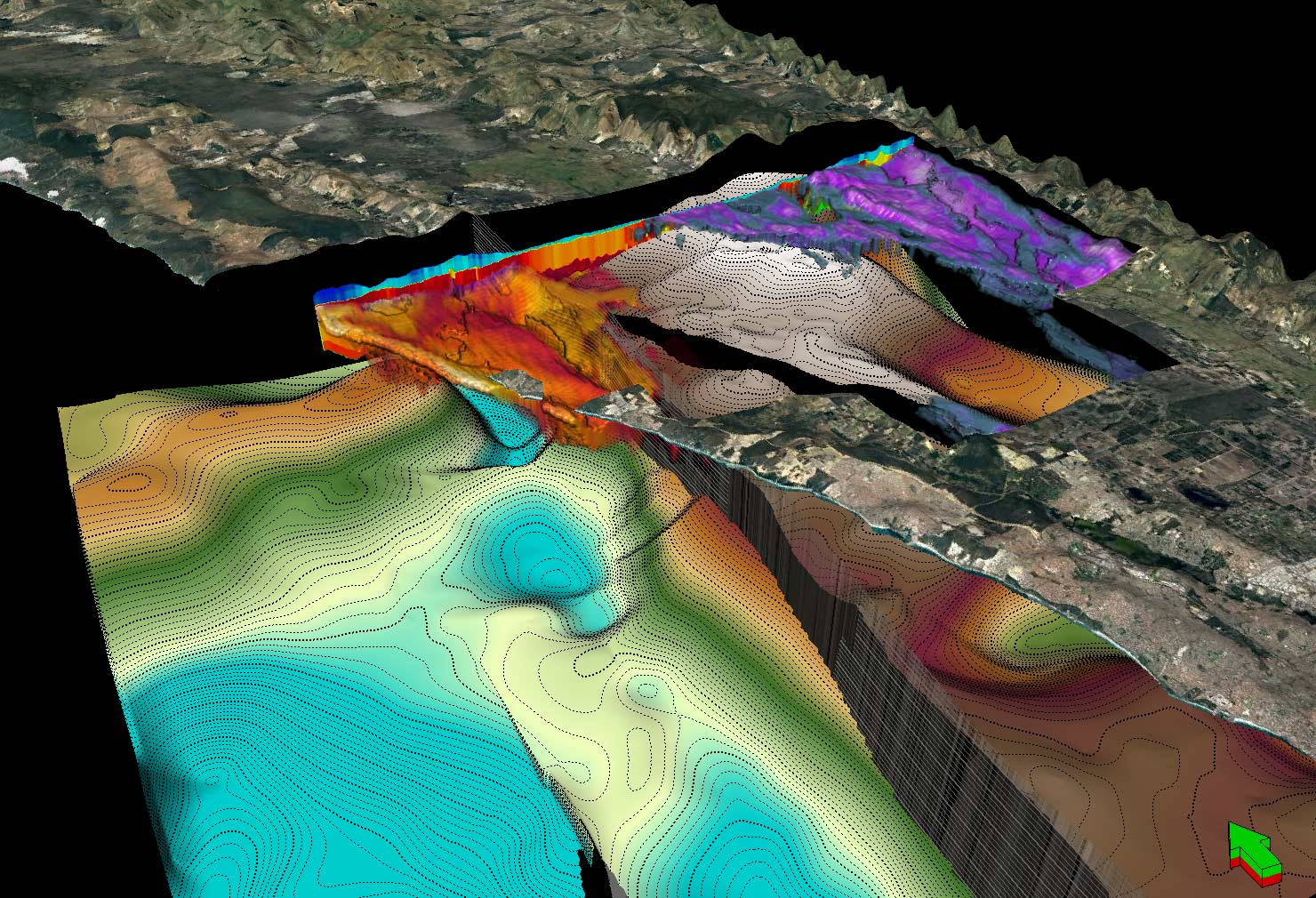 Example of a detailed 3-D models of Perth's groundwater aquifers, created using Pawsey's powerful supercomputer.