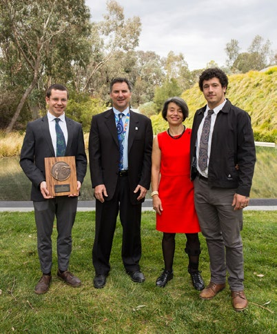 Sam La Salle holding the CSIRO Medal for Lifetime Achievement award and standing next to Larry Marshall, Cigdem La Salle and Alex La Salle.