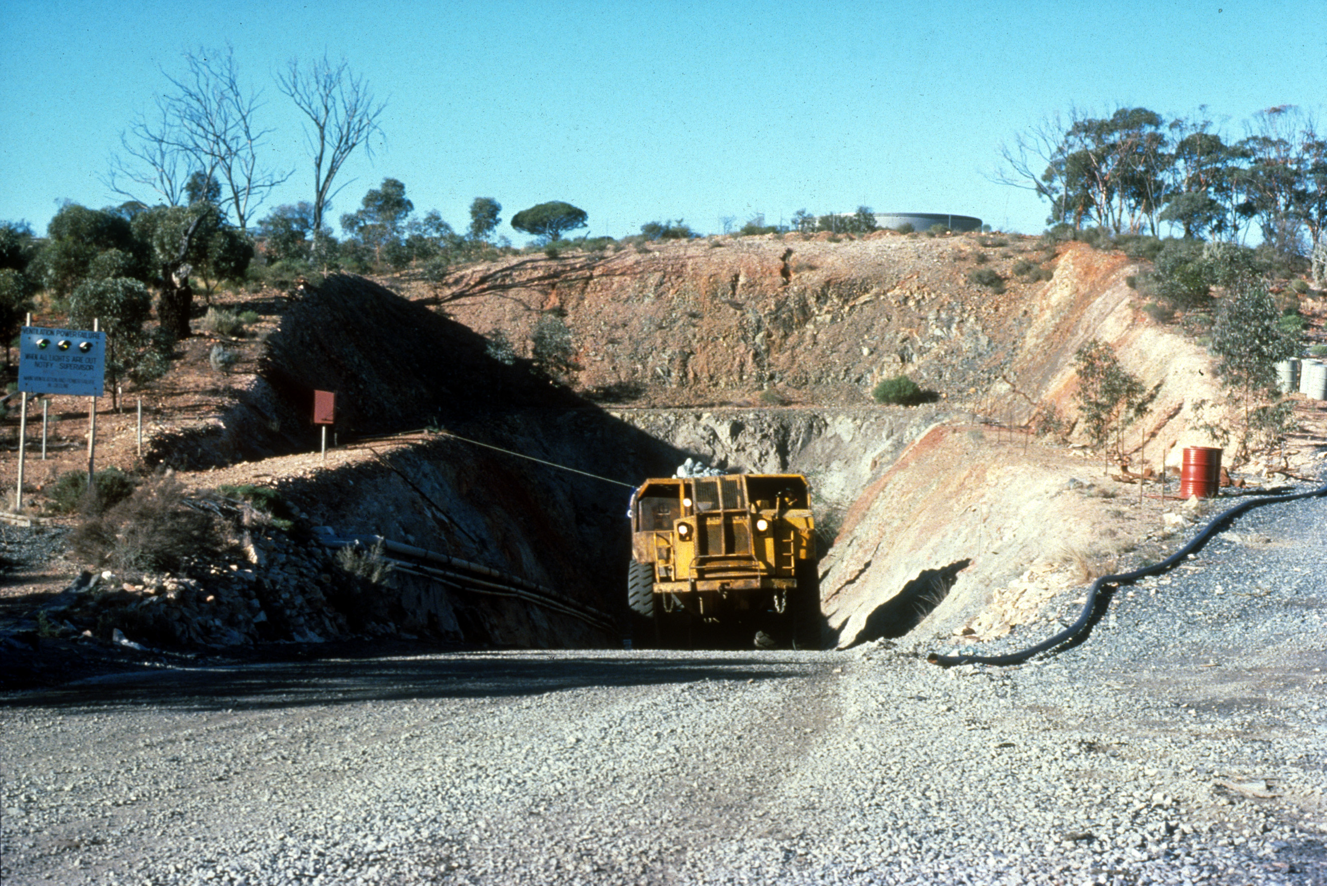 Ore truck coming out of the portal, Silver Swan nickel mine, Western Australia.