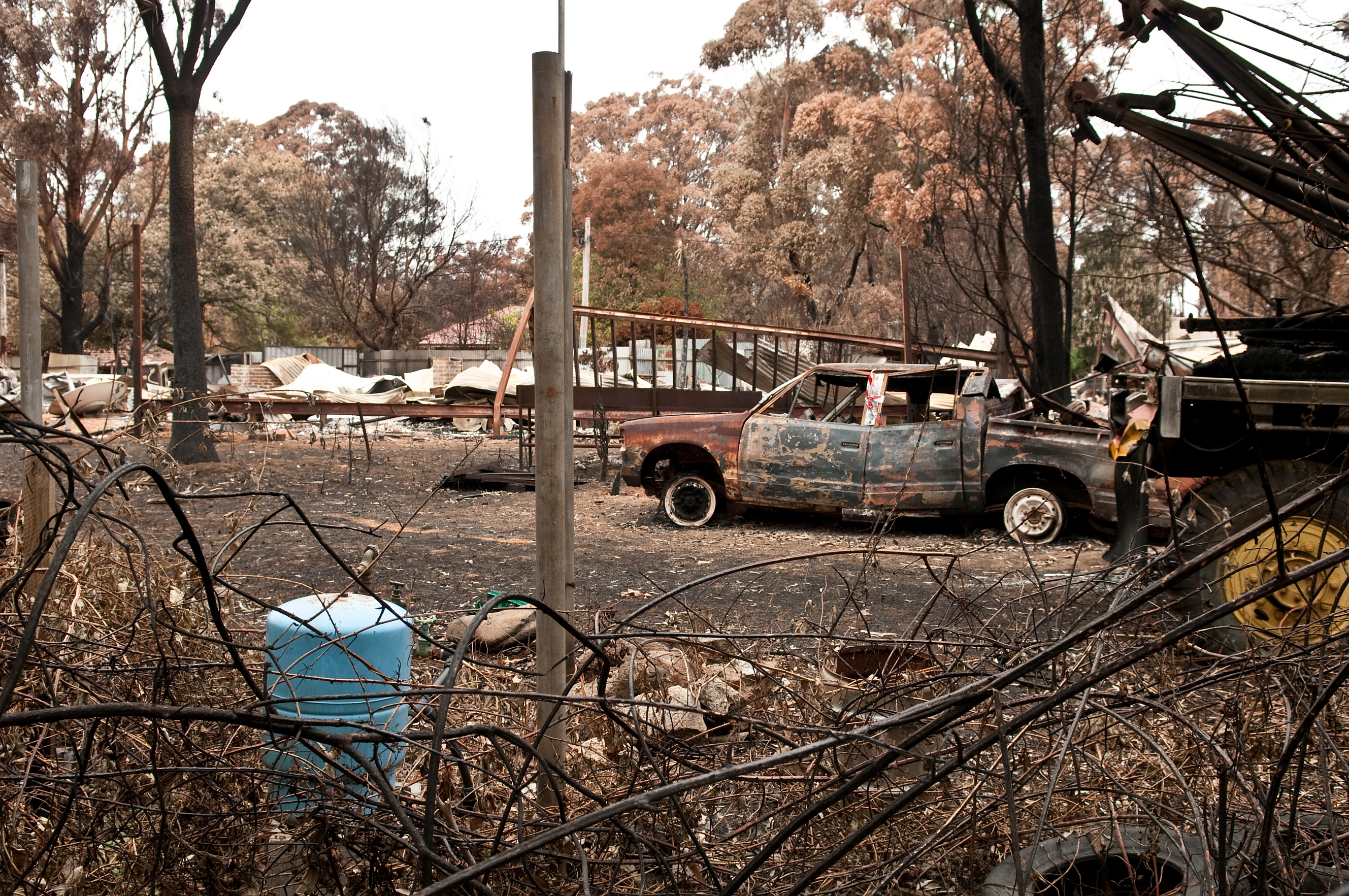 A destroyed property at Kinglake after the Black Saturday bushfires in 2009.