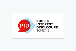 PID logo - white letters, red speech bubble, blue arrow, words Public Interest Disclosure Scheme