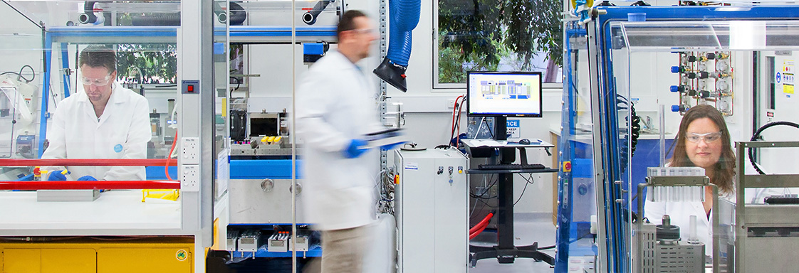 Scientists working at the Rapid Automated Materials & Processing Centre