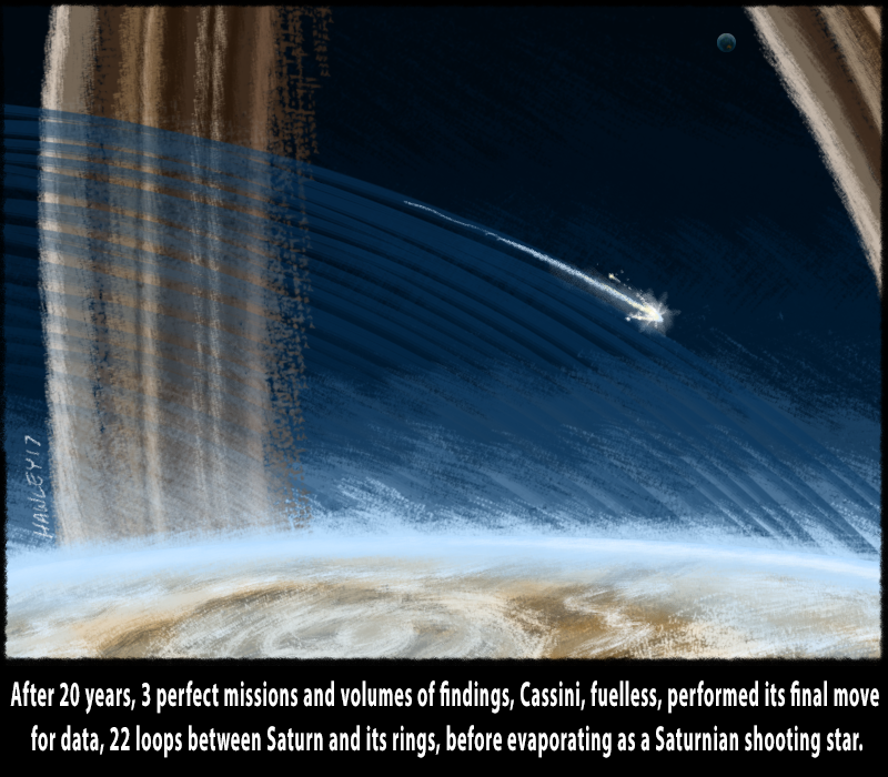 Illustration of Cassini spacecraft becoming a shooting star in Saturn's atmosphere