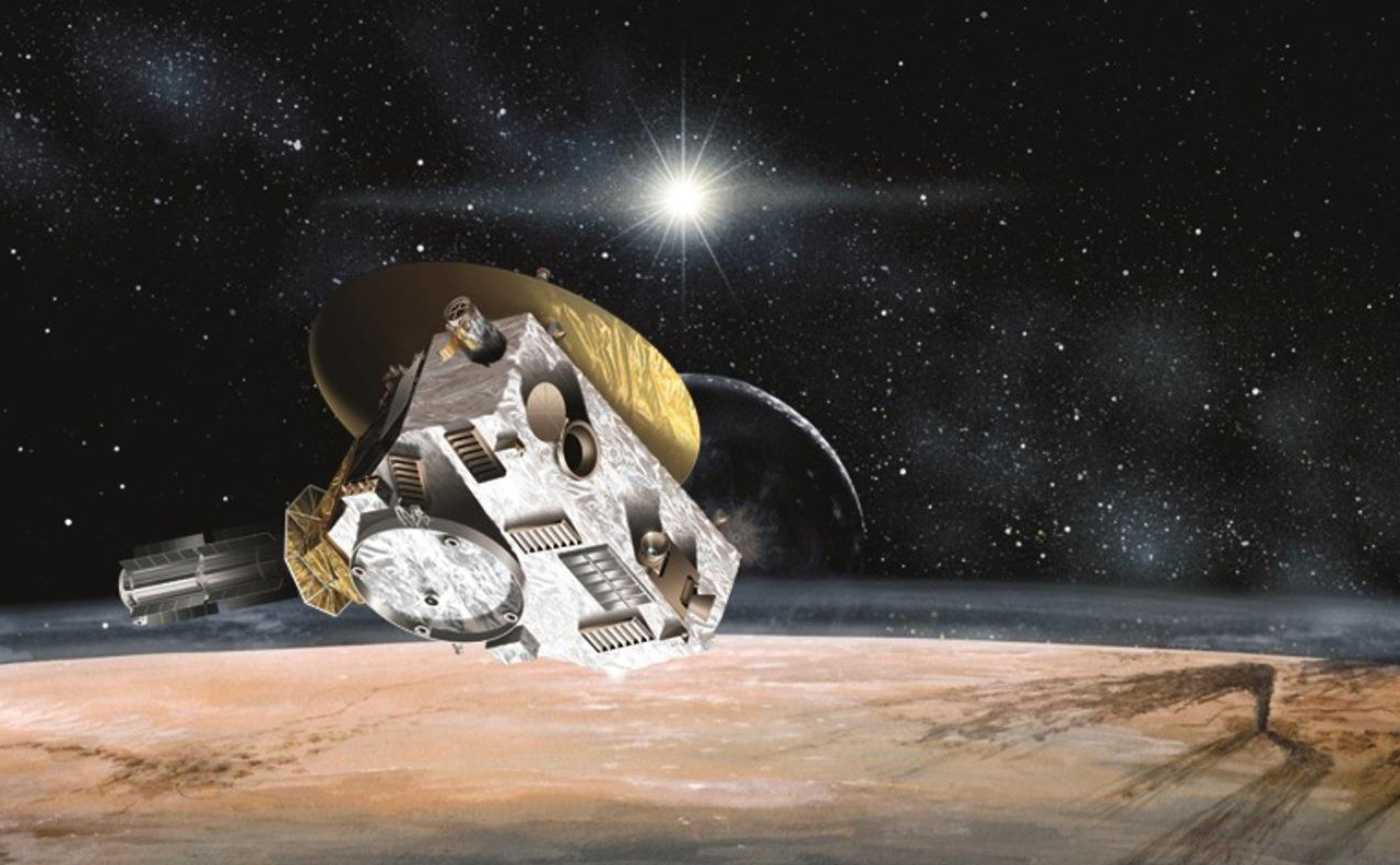 A silver and gold spacecraft passing above Pluto (brown ground surface) with a starry sky in the background