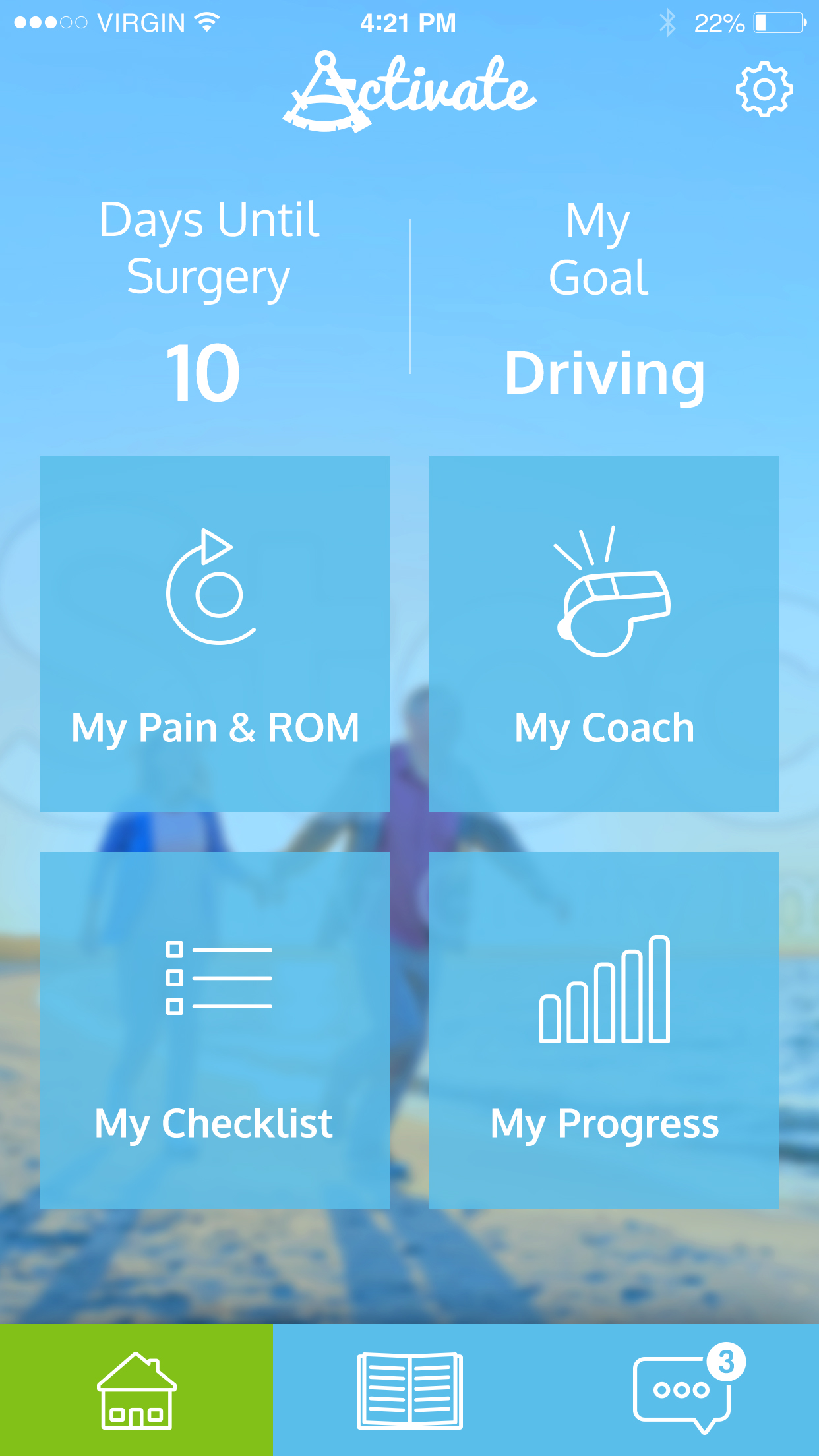 Screen shot of iphone rehab app home screen