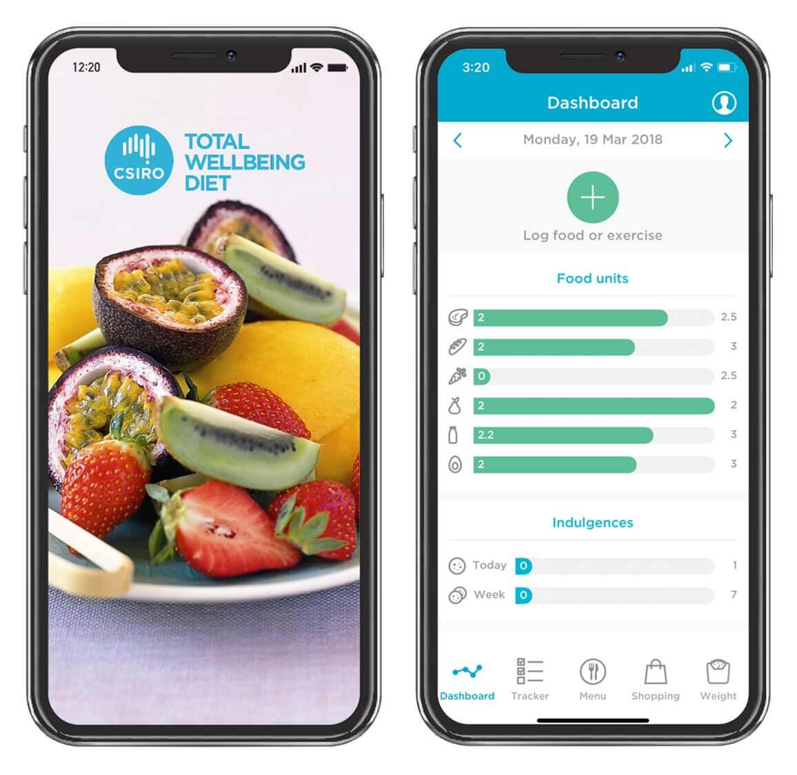 An iPhone display of the Total Wellbeing Diet mobile platform.