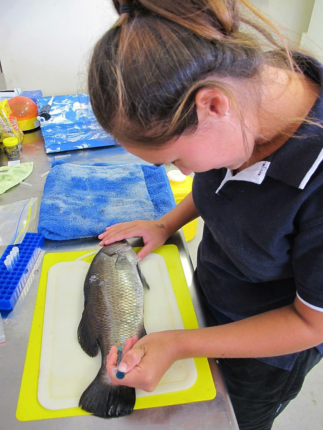 A girl working in an aquaculture facility