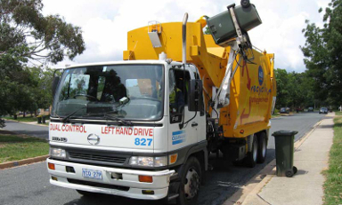 recycling truck picking up curbside rubbish