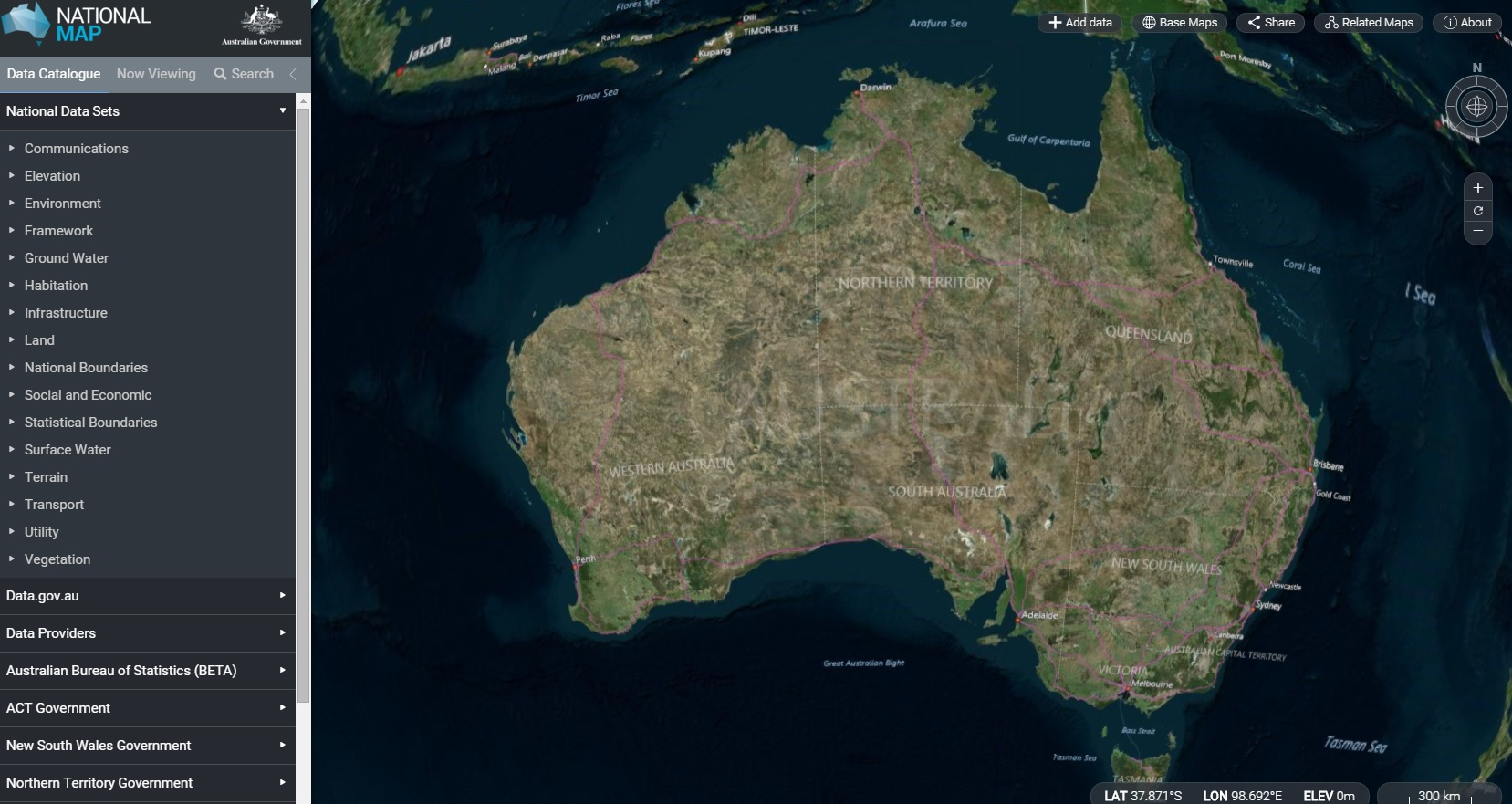 Screenshot of a map of Australia with datapoints from nationalmap.gov.au.
