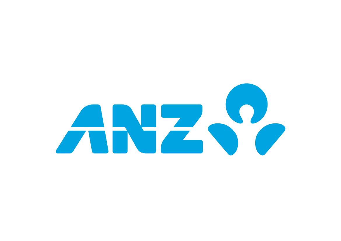 Blue coloured capital letters ANZ followed by an icon, also in blue