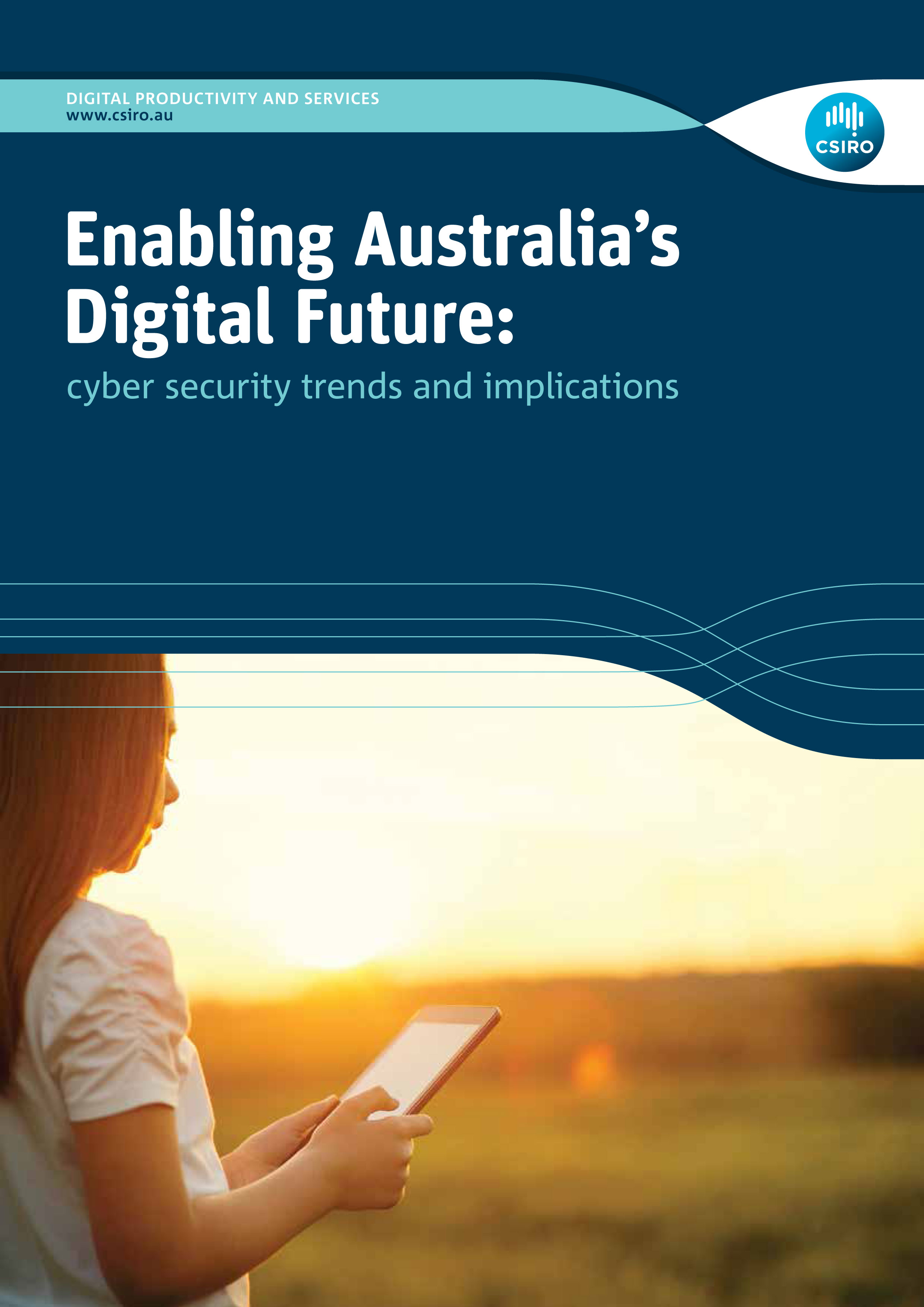 Cover of Enabling Australia's Digital Future report. The subtitle reads 'Cybersecurity trends and implications'.