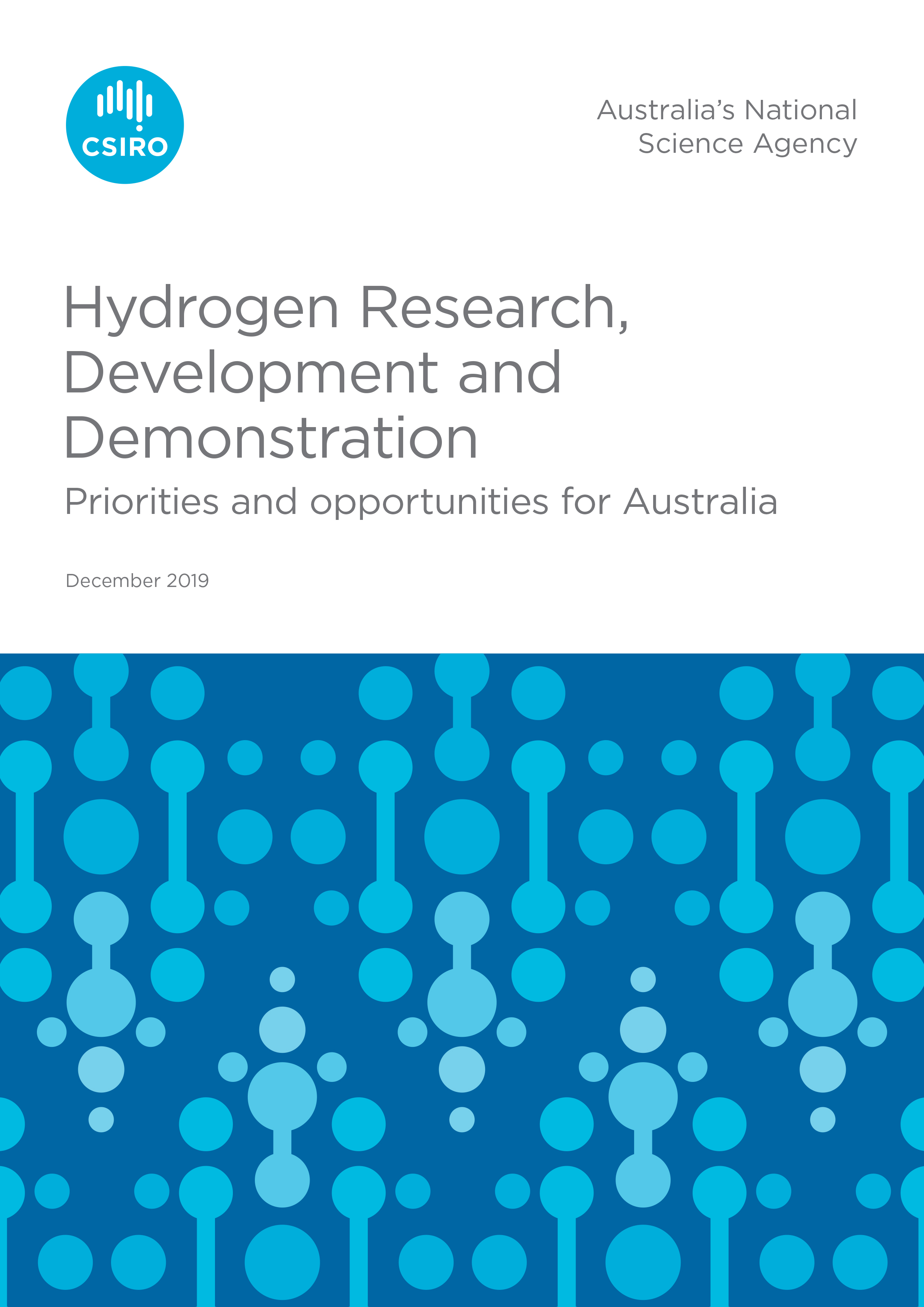 Front cover of the Hydrogen Research, Development and Demonstration report.