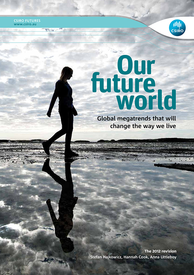 Cover of Our Future World report. Subheading reads: Global megatrends that will change the way we live