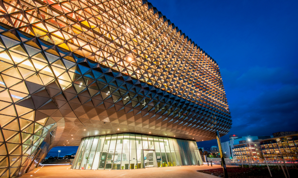 external view of the research clinic at SAHMRI at night