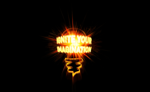 A lightbulb image with the words 'ignite your imagination'