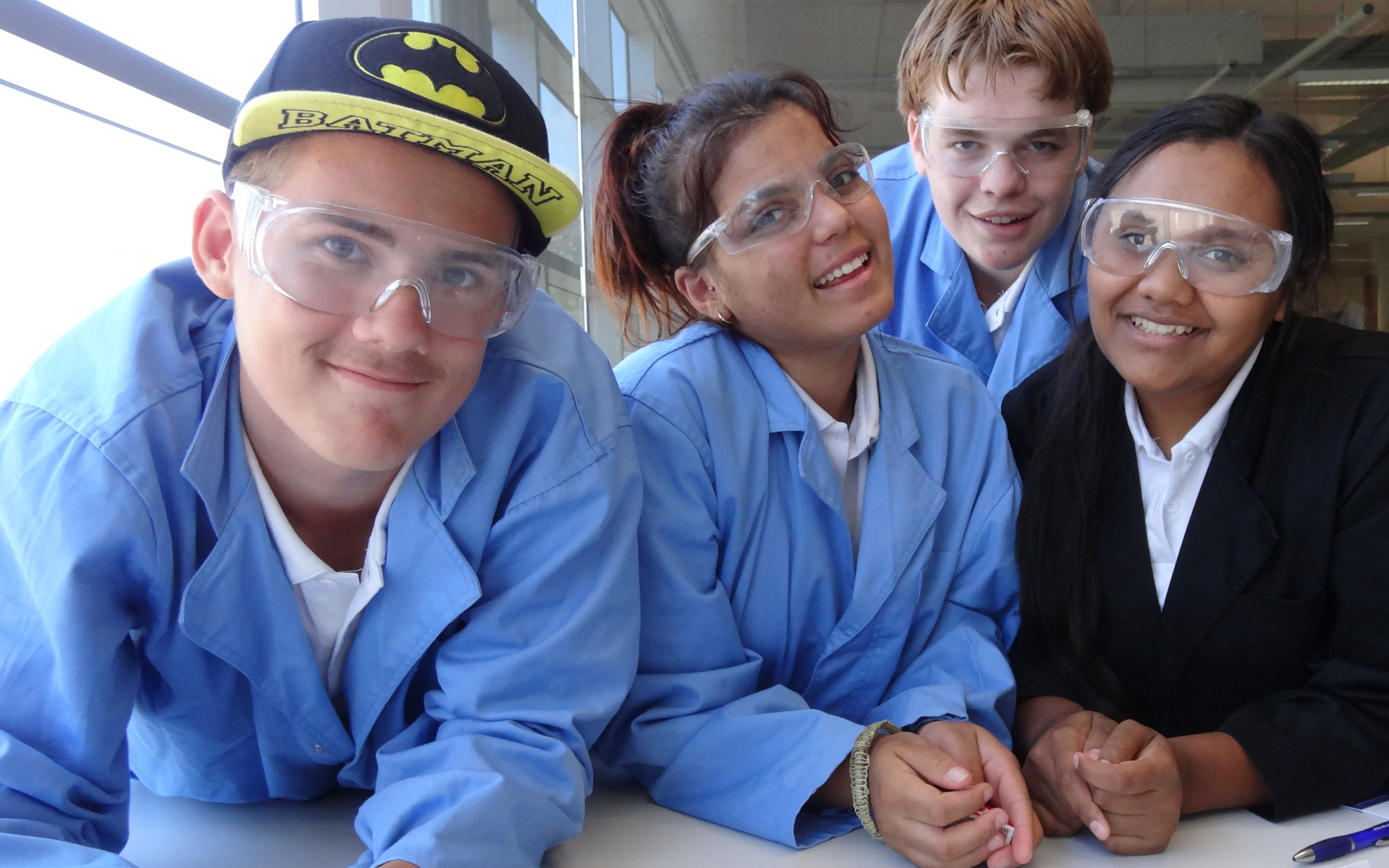 Photograph of participants Kieren, Kelly, Nat and Judy in the laboratory