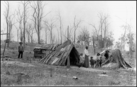 Image of Camp at Widgee Creek near Beaudesert 1907 (Sourced from the John Oxley Library, State Library of Queensland; Collection reference: 6600 Rev Higlett Photograph Albums, Negative number: 48268)