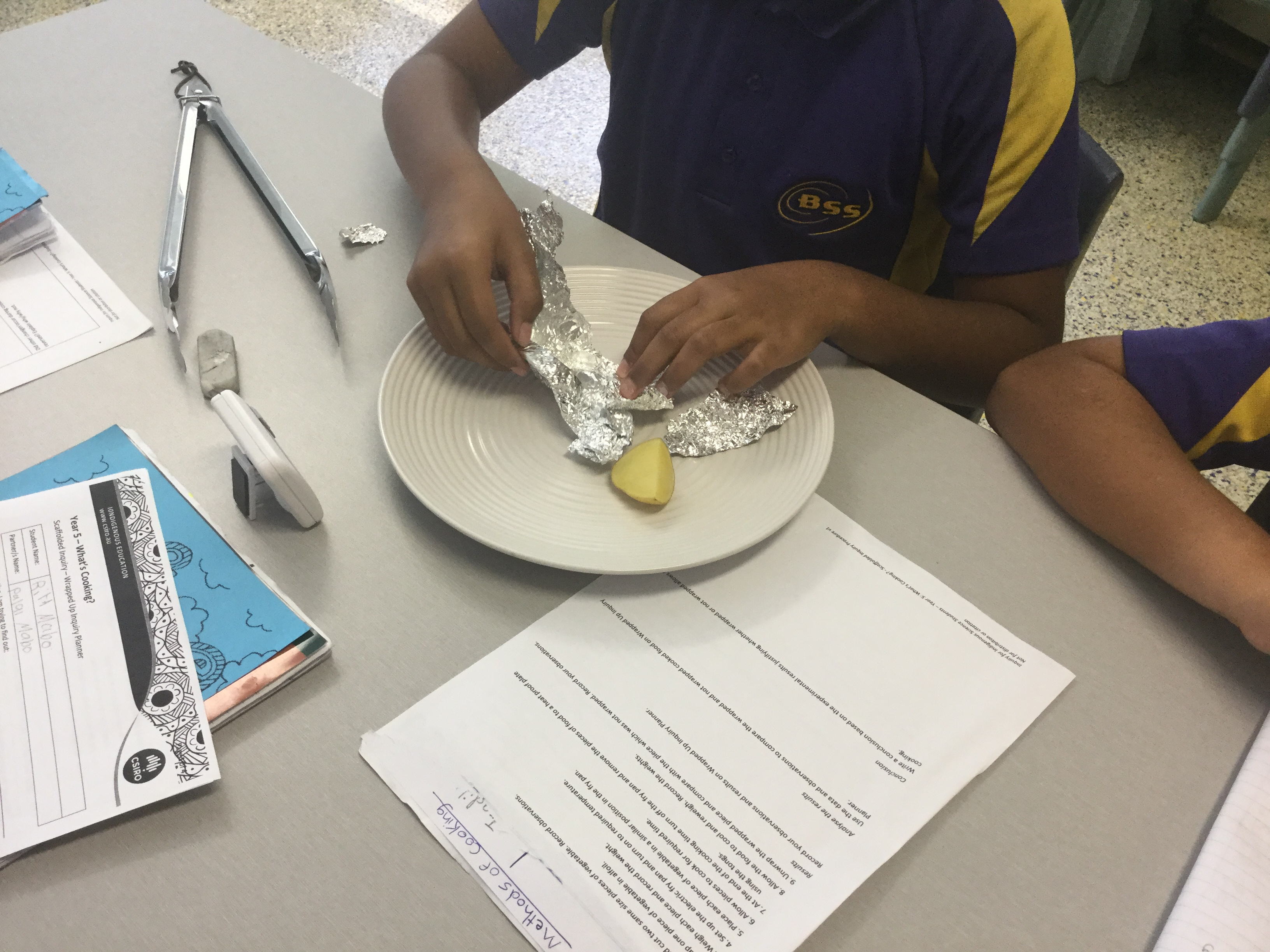 Image of students comparing potatoes in the Wrapped Up Scaffolded Inquiry