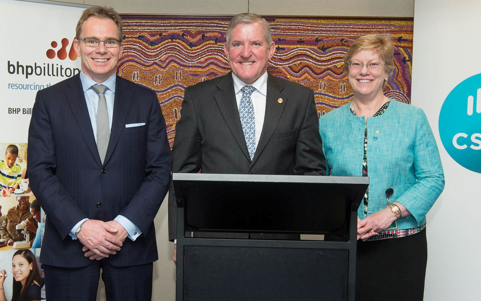 Photo of Mr Andrew McKenzie, BHP Billiton Chief Executive Officer; Hon Ian Mcfarlane MP, Minister for Industry and Dr Megan Clark, Chief Executive CSIRO at the launch event