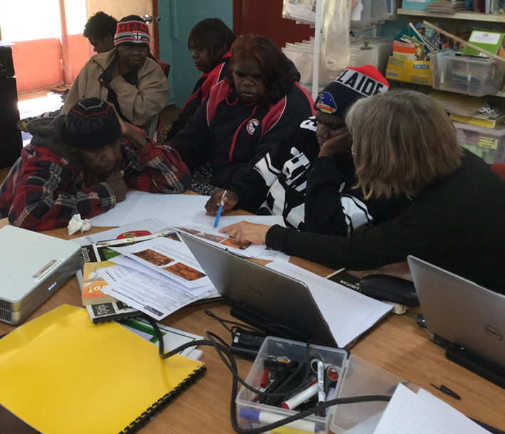 Photo of Elders and assistant teachers from Mt Liebig discussing a booklet about edible grubs with Science Pathways NT team leader Meg Mooney at an Indigenous Language & Culture planning workshop at Areyonga in September 2016.