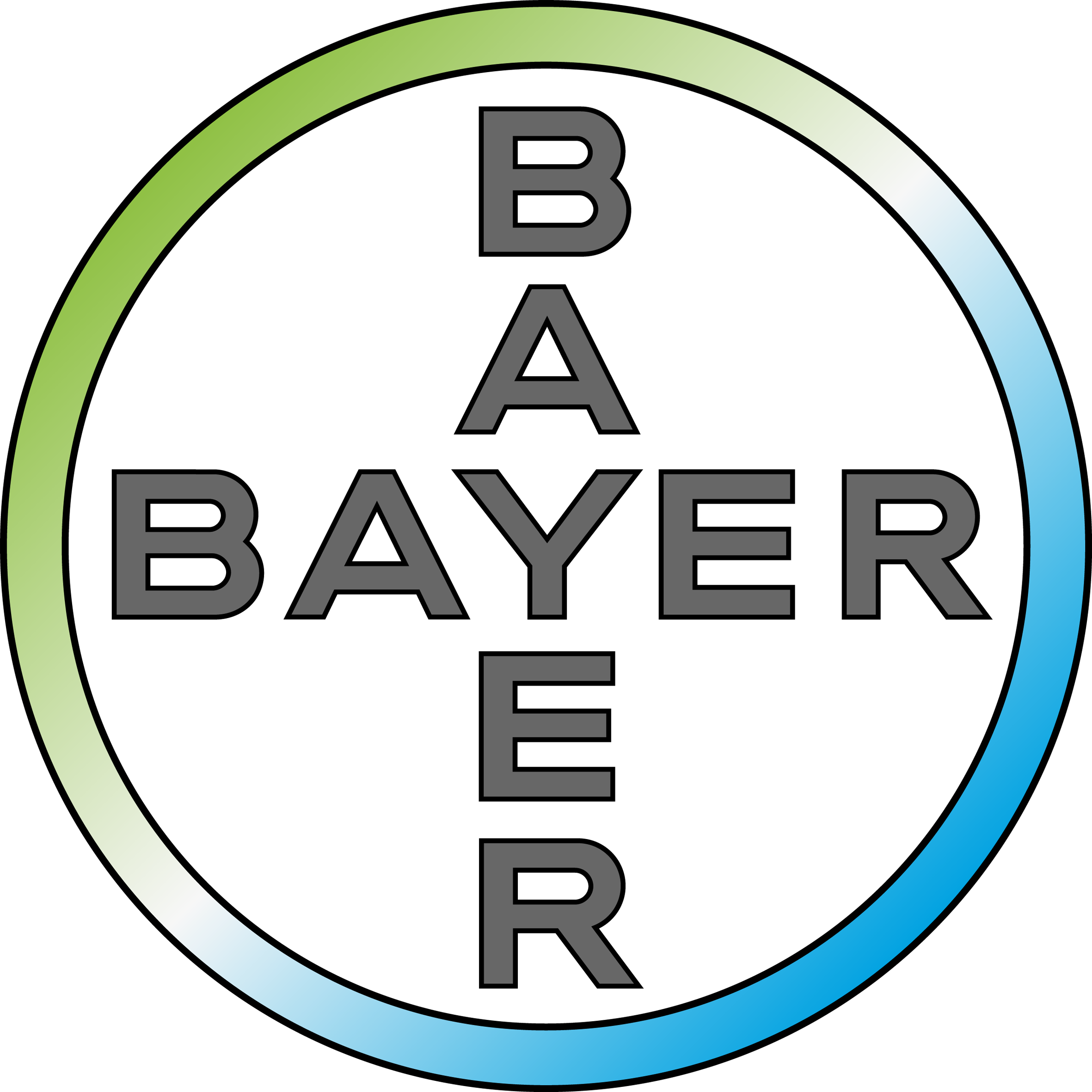 The words Bayer crossing over eacher other in a circle withe words Science For a Better Life