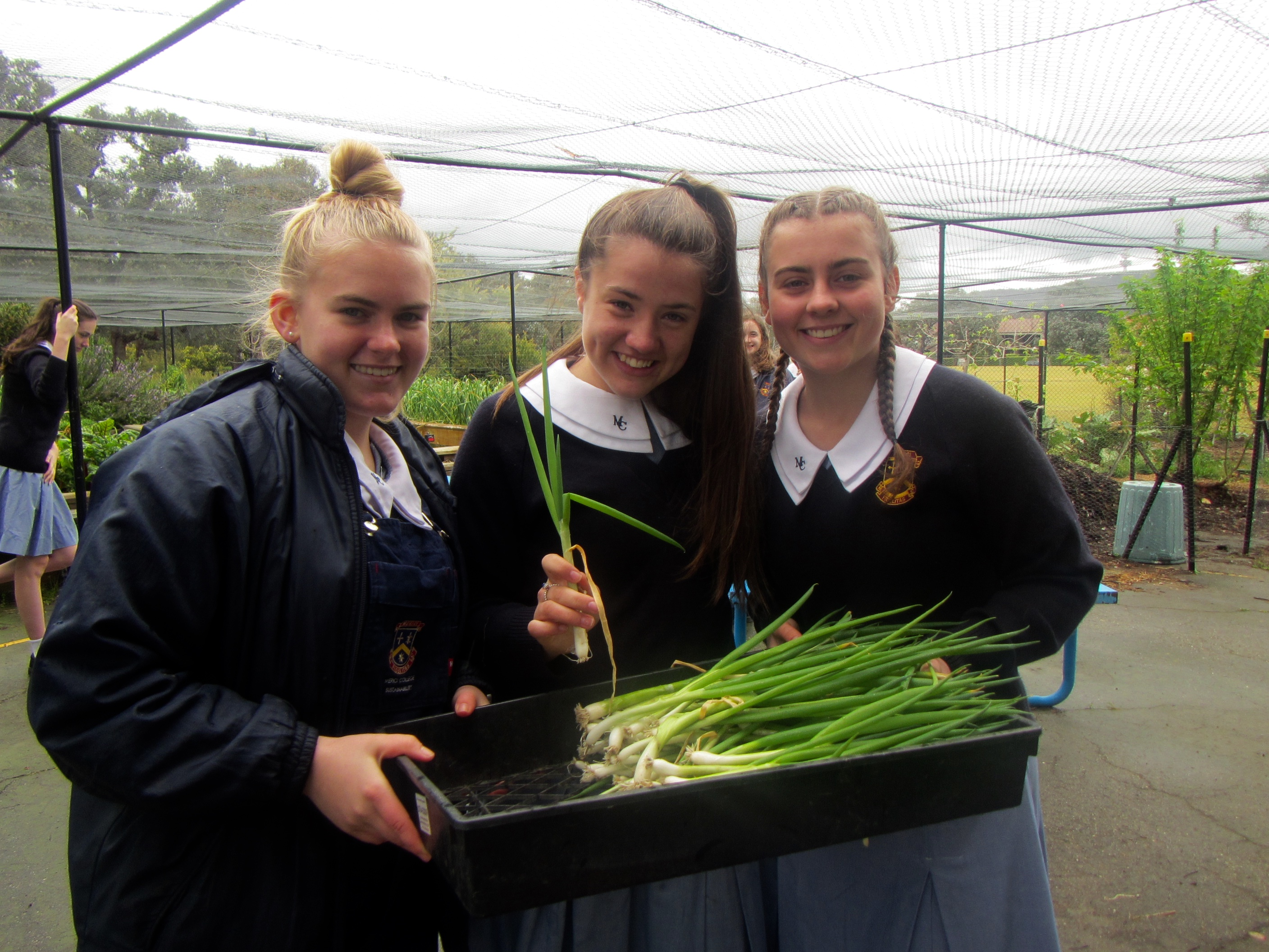 Three students showing the spring onions they grew in their school garden