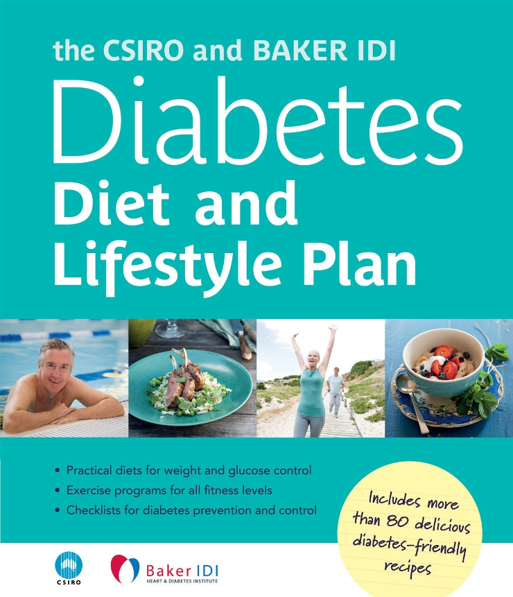 A photo of the cover of the CSIRO and Baker IDI Diabetes Diet and Lifestyle Plan book