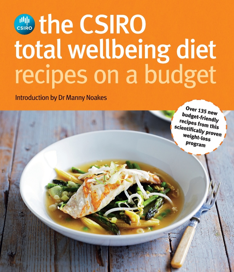 A photo of the cover of the CSIRO Total Wellbeing Diet Recipes on a Budget book
