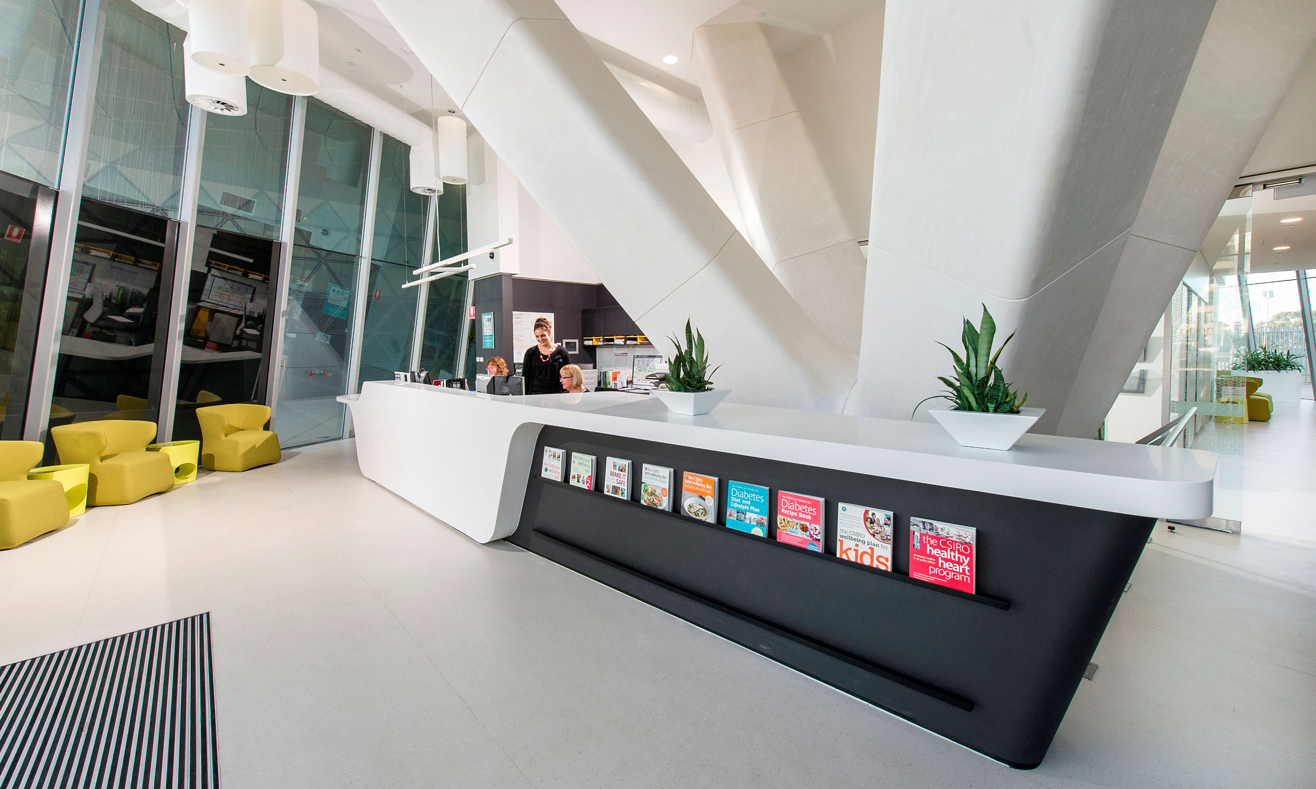 The reception area at the clinic is modern, has receptionists during opening hours and a collection of CSIRO diet books on display