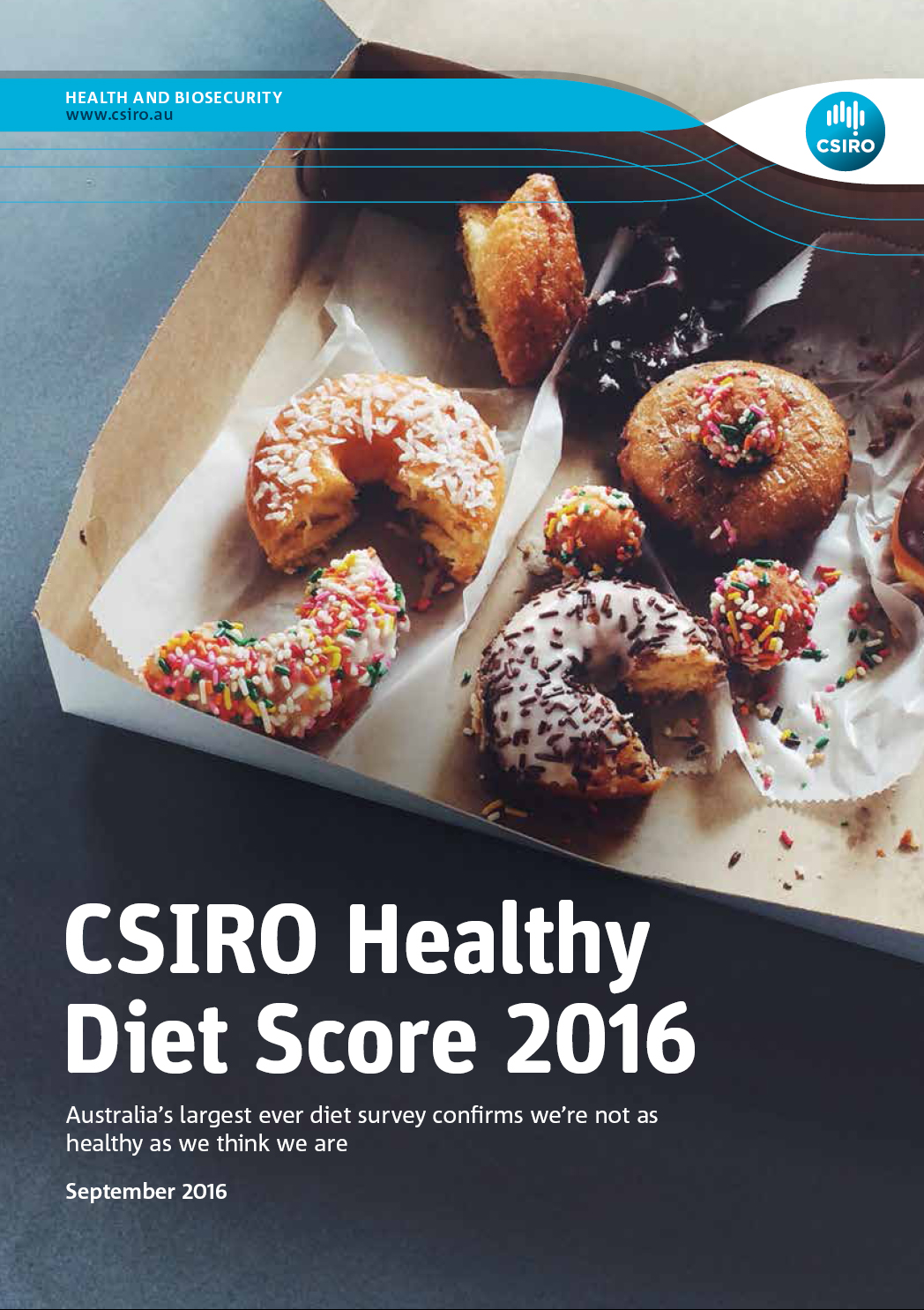 The cover of the CSIRO Healthy Diet Score 2016 report, showing a box donuts and cakes.