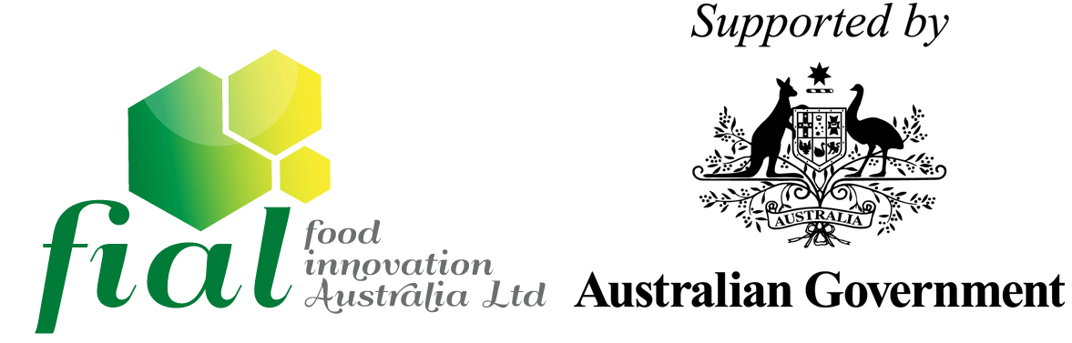 Logo of Food Innovation Australia Ltd (FIAL) made up of three polygonal shapes with the acronym 'fial' and organisation name underneath and the Australian Government logo to the right hand.