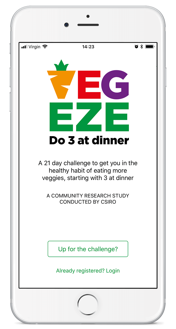 Screenshot of home screen of the VegEze app on an iPhone.