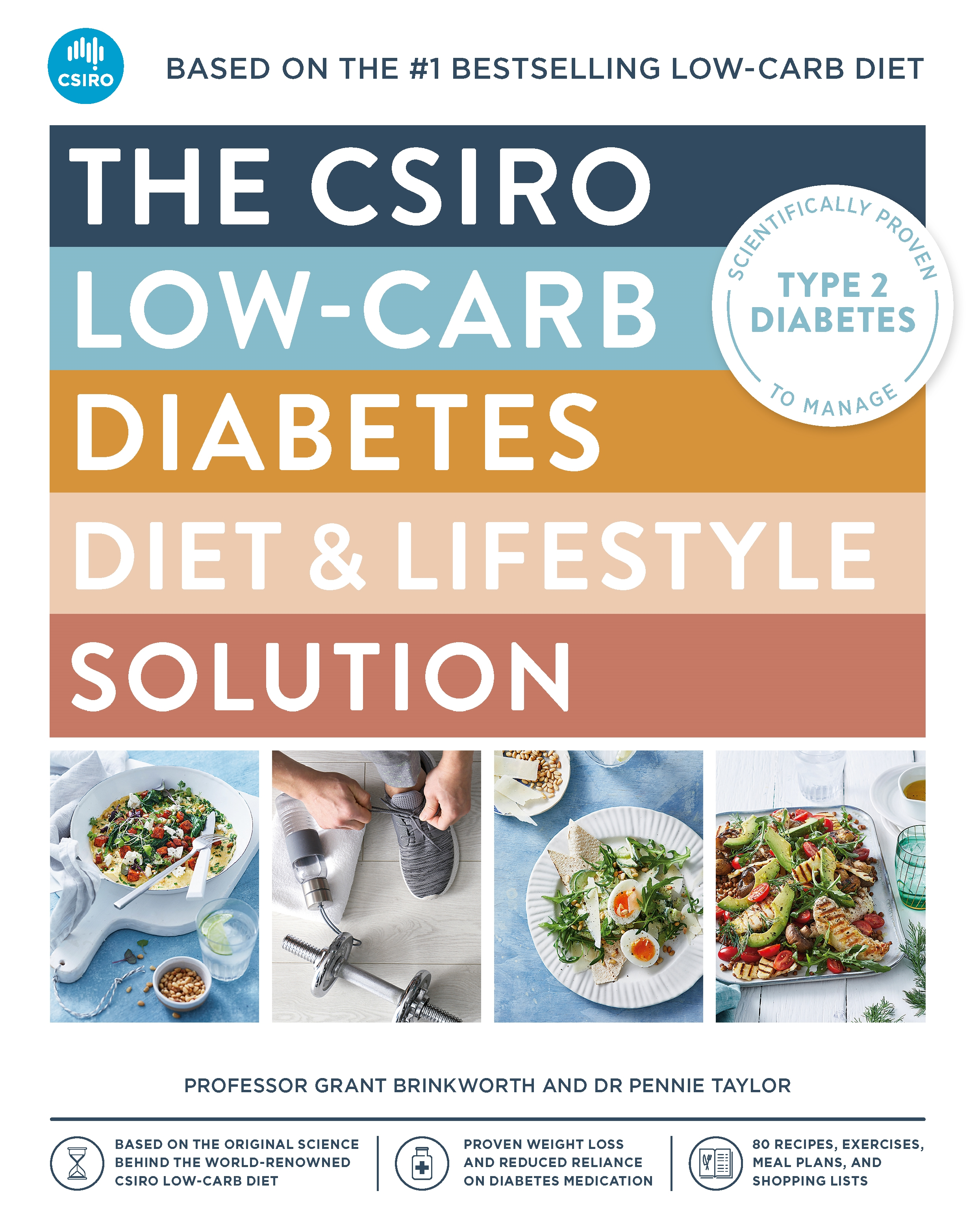 An image of the front cover of the CSIRO Low Carb Diabetes Lifestyle Solution Book Cover with images of food and a person lacing their shoes up with a hand weight in the background