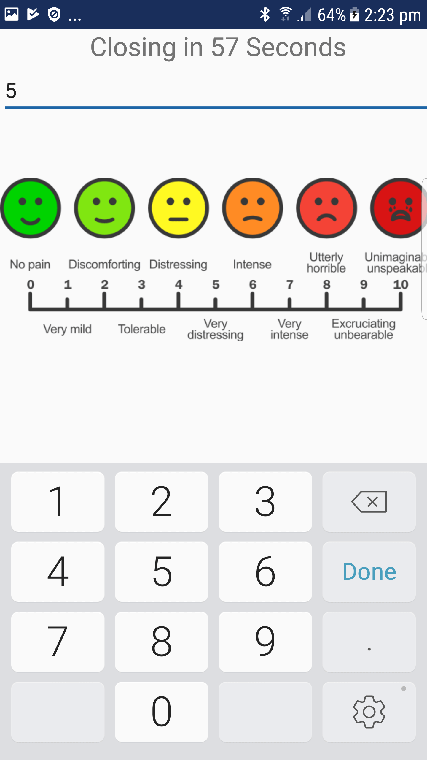 A screenshot of the chronic pain intervention app, Pain ROADMAP, displaying different levels of pain.