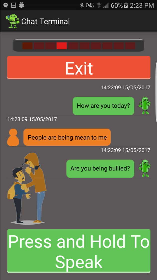 A screenshot of Harlie Chatbot smartphone app showing a conversation about bullying.