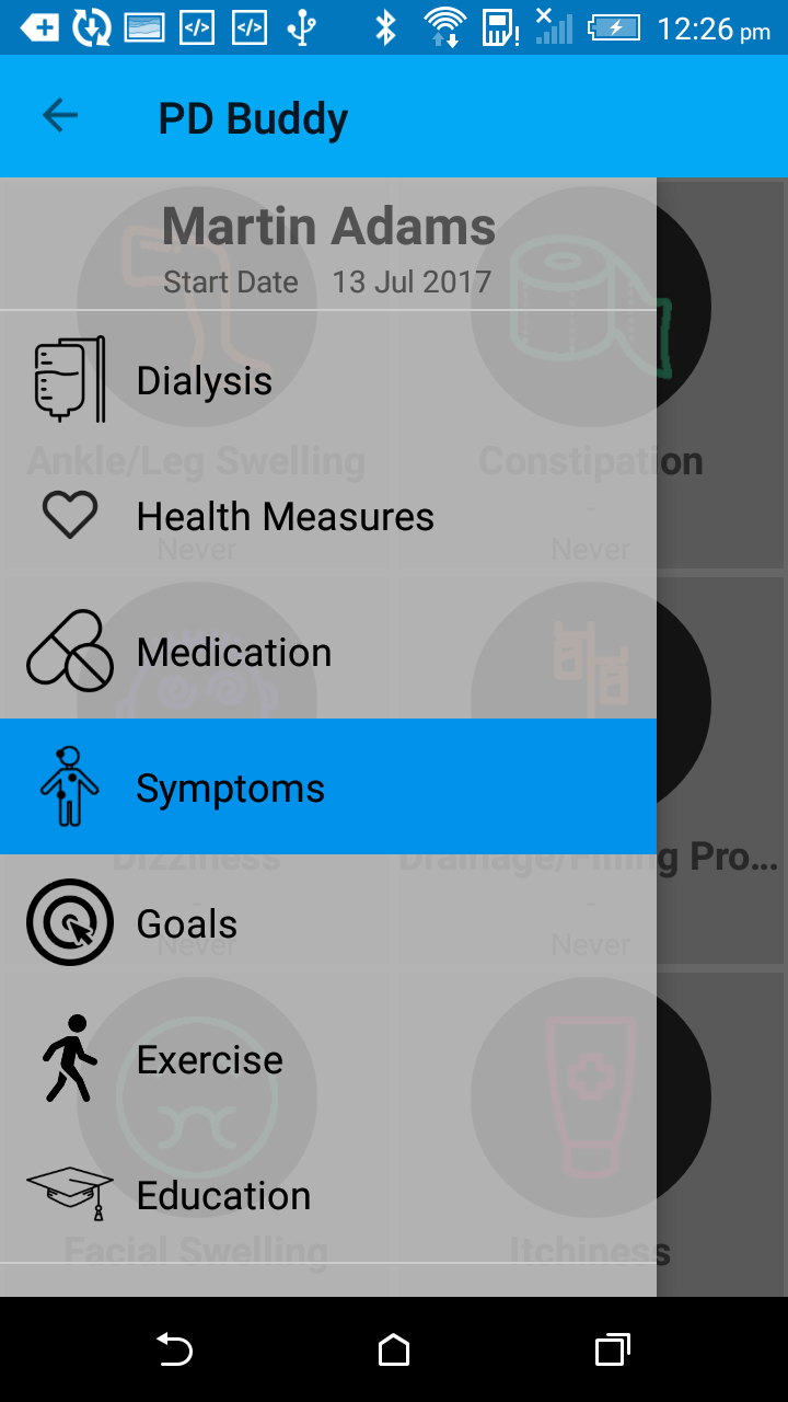 A screenshot of the PD Buddy mobile health platform to support people on peritoneal dialysis.