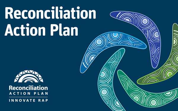 the words Reconciliation Action Plan with 5 rotating boomerangs and the RAP Innovate RAP logo