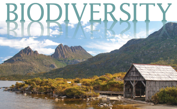 Front cover of a book with 'Biodiversity' in big text and an image of a hut at Tasmania's cradle mountain