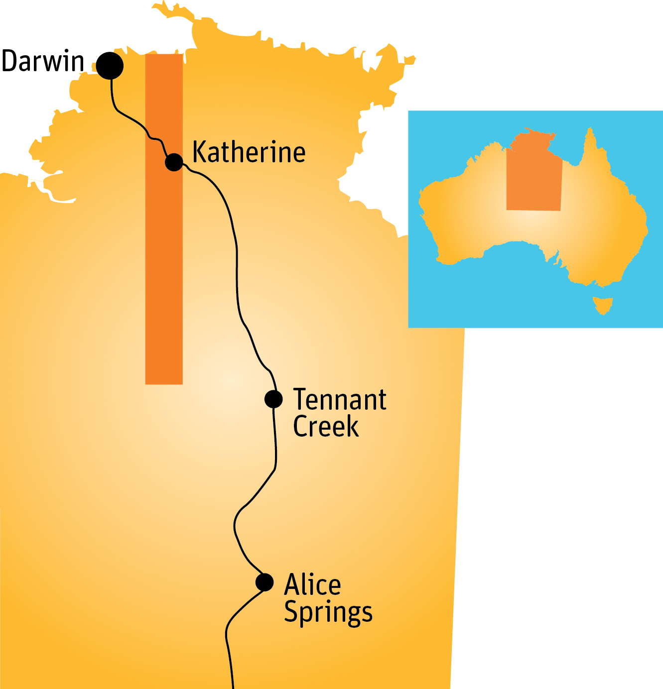 Map of the northern territory showing a transect line extending from about Darwin in the north down to about level with Tennant Creek in the south