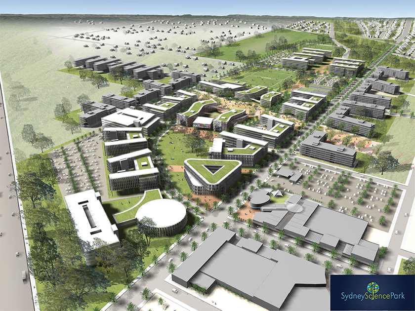 Artists impression drawing of a business park with numerous buildings adjacent to green space