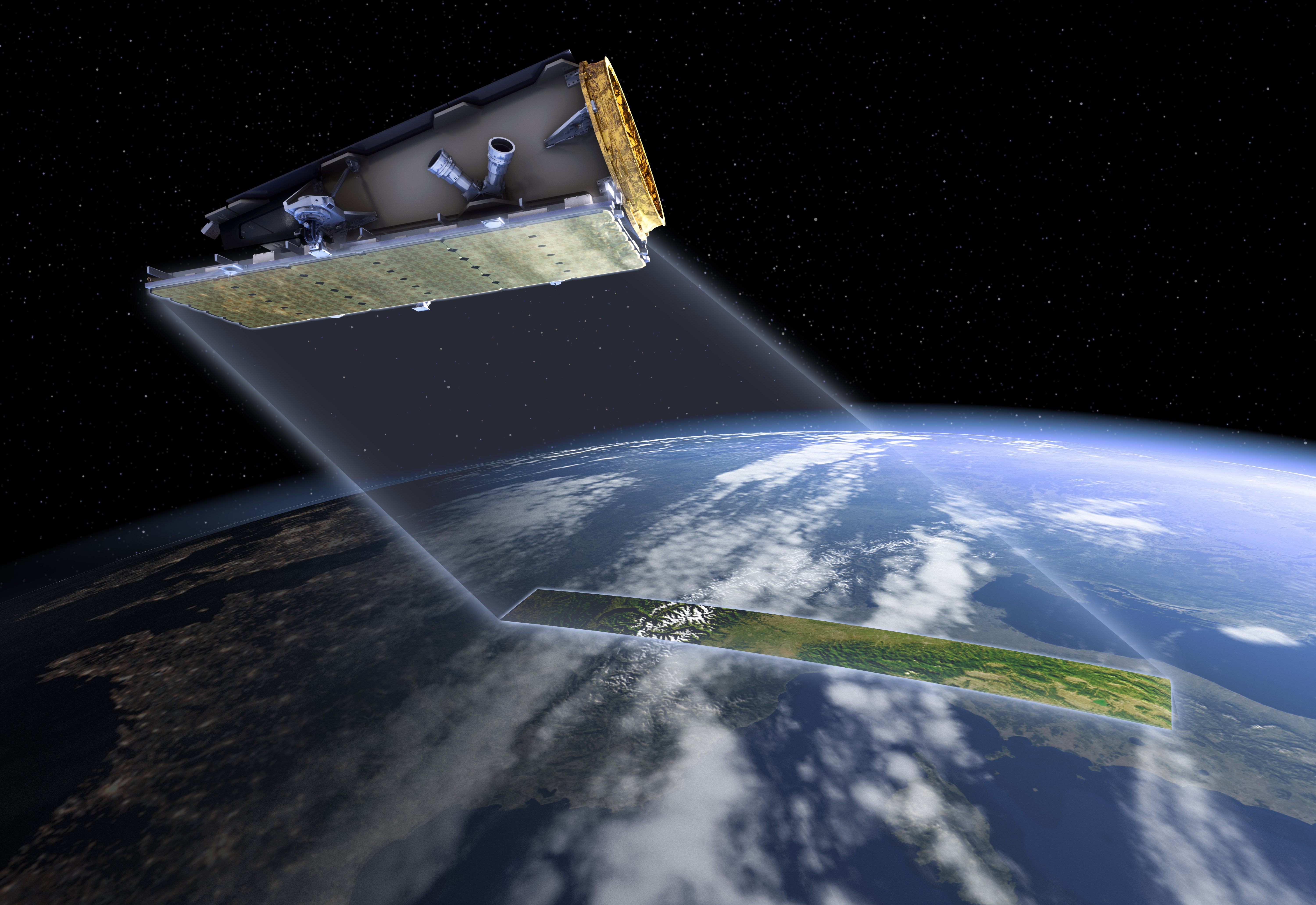 An artists impression of a satelitte in space above the curved surface of earth.