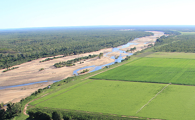 Farmland and river