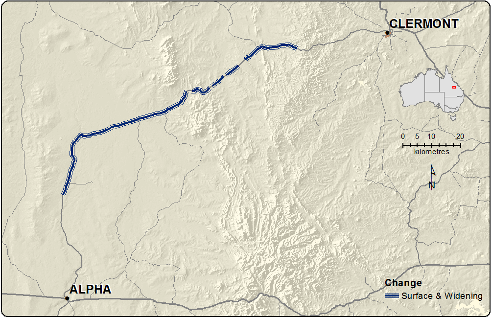 Map showing highlighting sections of road that would benefit from upgrading between Clermont and Alpha in Central Queensland