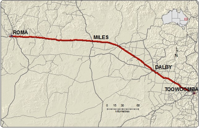 Map of Warrego highway from Roma to Toowoomba to accommodate Type 2 vehicles