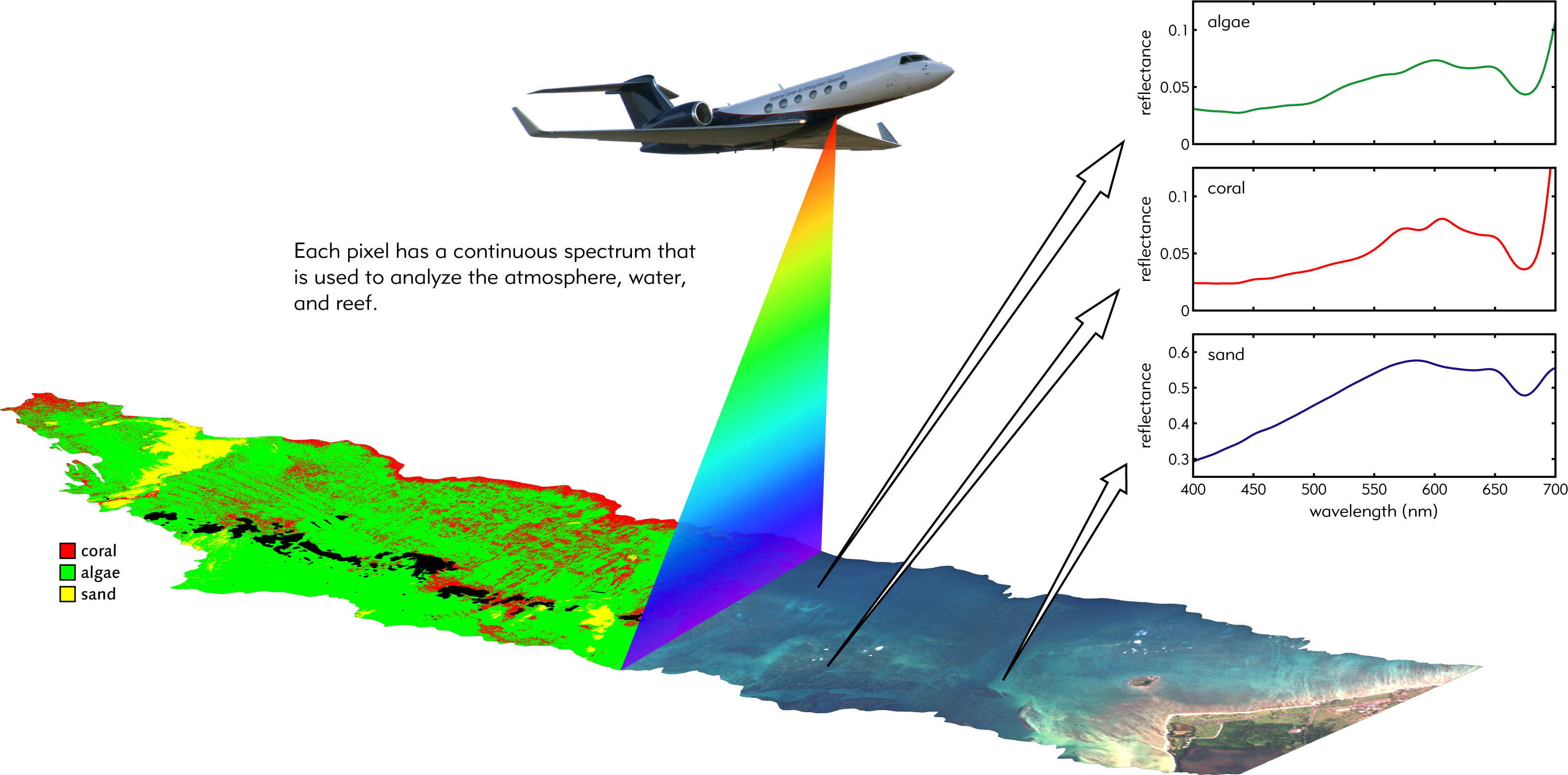 graphic showing aeroplane taking images of the seabed and graphically interpreting this information into data