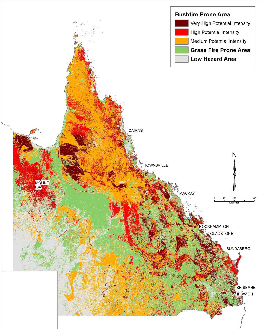 Map of Queensland showing fire-prone areas