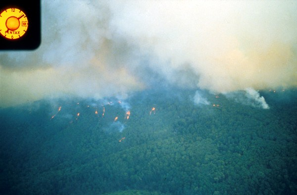 bushfire on a hill as seen from a ridge top