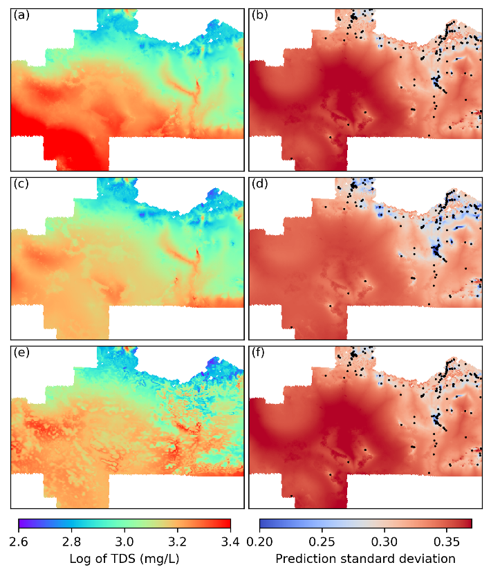 Map is showing the predicted groundwater salinityusing blue dots for the Musgrave Province, South Australia.