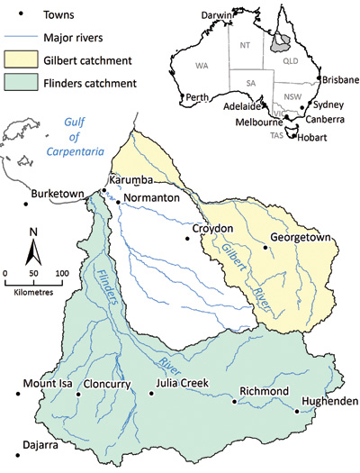 Map of the Flinders and Gilbert Agricultural Resource Assessment location showing the Flinders and Gilbert catchment areas
